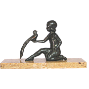 Spelter Statue - Girl and Bird on Marble Base from France