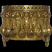 Antique Brass Repousse Jardiniere / Flower Pot / Planter from France
