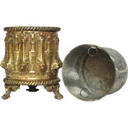 Pressed Brass Planter - Repousse Jardiniere from France
