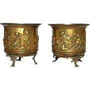 Pair of French Brass Repousse Jardinieres with Cherub / Putti Decor