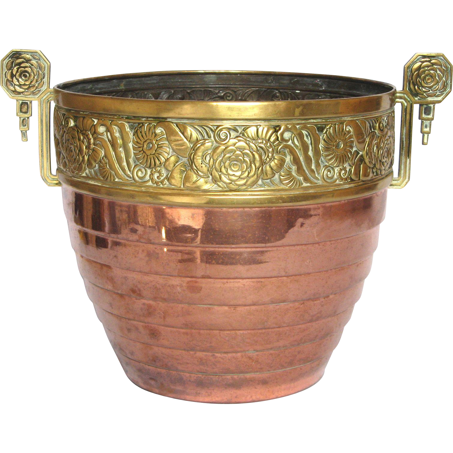 French Copper Cache Pot / Planter with Art Decor Pressed Brass Floral Band