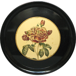 Stunning French Metal Serving / Carrying Tray with Rose Decor