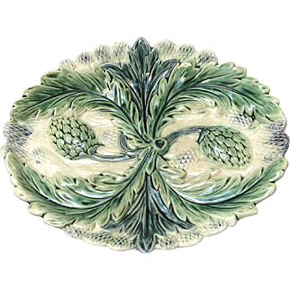 French Majolica Asparagus / Artichoke Serving Dish / Platter