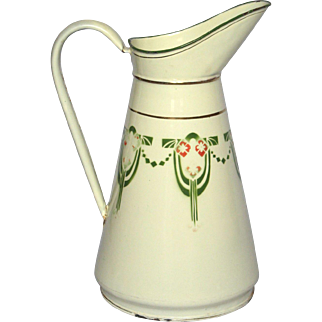French Art Deco Design Enamelware Body Pitcher - Fantastic Condition