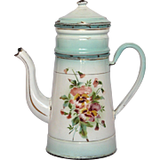 Aqua Shaded Floral French Enamelware Drip Coffee Pot - JAPY