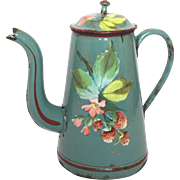 EARLY French Graniteware Coffee Pot with Rare Hand-Painted Wild Strawberry Decor