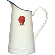 Vintage AUBECQ Enamelware Pitcher with Original Manufacturer's Sticker