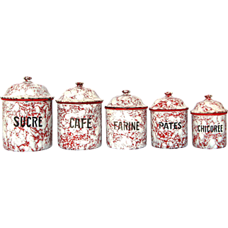 Red & White Mottled Enameled Graniteware French Canister Set
