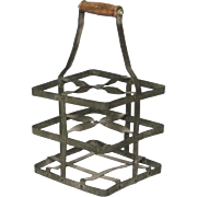 French Zinc Wine  Carrier - Wine Caddy - Bottle Carrier for 4 Bottles