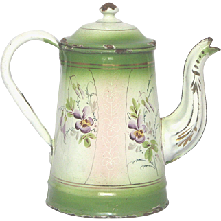 Pink & Green Early Graniteware Enamel Floral Coffee Pot from France