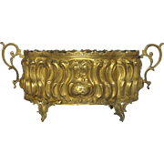 Early 1900s French Repousse Brass Jardiniere - Planter - Cache Pot
