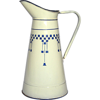 French Enamel Ex-Large Pitcher with Blue-Check Lustucru Decor