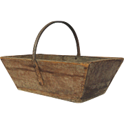 Very Vintage - Primitive French Wooden Garden Trug / Harvest Basket