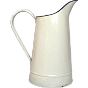 Vintage White Enamel Graniteware Pitcher from France