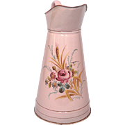 Pink Floral French Enamelware Body Pitcher