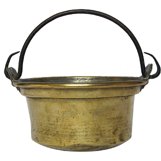 French Brass Cooking Pot / Handled Pail