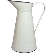 Vintage White Enameled French Graniteware Body Pitcher