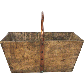 French Wooden Garden / Harvest Trug / Basket with Copper Handle