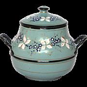 FABULOUS French Antique Hand-Painted Enamel Graniteware SUGAR Bowl
