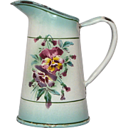 Rare Small JAPY Enamelware Floral Pitcher - Aqua Shading and Pansy Decor