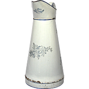 Early Japy Graniteware Body Pitcher with Blue Floral Transfers