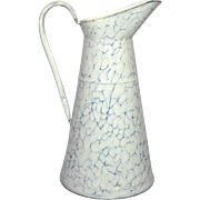 Near-Mint Blue Veined Enamel Graniteware Pitcher from France
