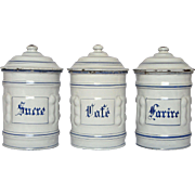 Set of Three French Enamel Graniteware Kitchen Canisters