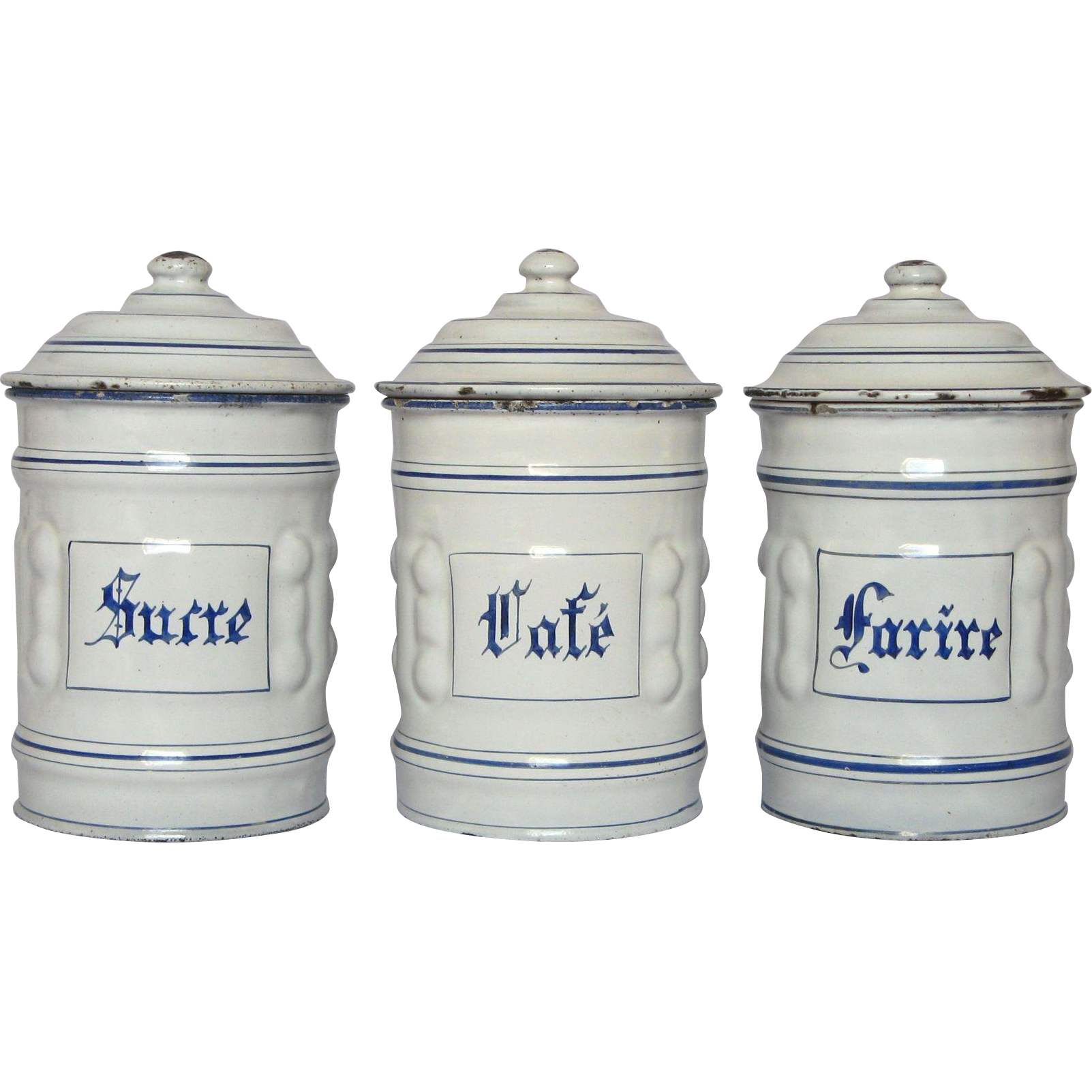 French Kitchen Canisters: Set Of Three French Enamel Graniteware Kitchen Canisters