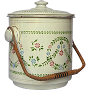 MINT Condition - Early 1900s French Enameled Graniteware Bucket - Rattan Handle