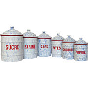 Complete Set of NEAR-MINT Vintage Enamel Graniteware Kitchen Canisters