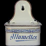 French Enamel Graniteware Match Holder - Match Box