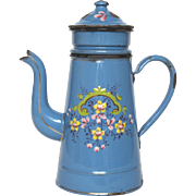 Antique French Enamelware Drip Coffee Pot - Hand Painted Floral Design