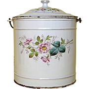 Early Graniteware Hand-Painted Floral Enamel Bucket - Pail - Large Lidded Pot