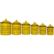Complete Set of Yellow French Enamelware Canisters - Early 1900s