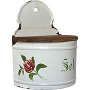 French Enamel Graniteware Salt Box - Hand-Painted Rose Decor