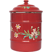 RED Enamelware Hand-Painted Floral Graniteware Canister