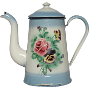 JAPY Floral Coffee Pot  -  Enamel Graniteware Blue Shading