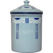 Art Deco French Graniteware Flour Canister