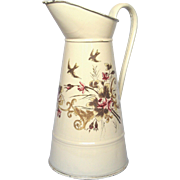 STUNNING French Hand-Painted Floral XL Pitcher - Near Mint