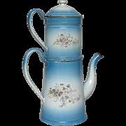 French Floral Enamel Graniteware Coffee Pot Biggin