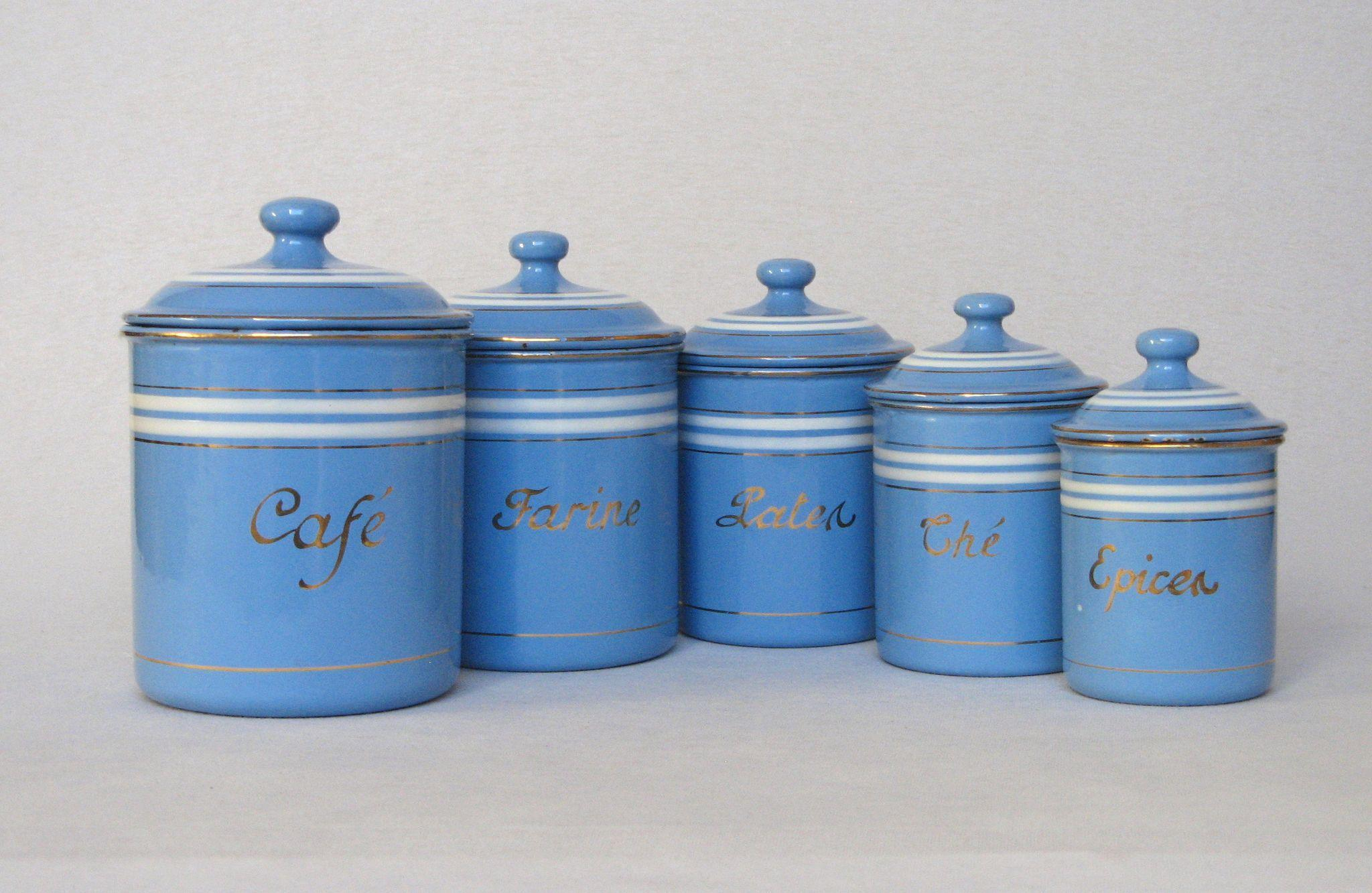 kitchen canisters blue blue kitchen canister set by treasure craft usa by set of sky blue. Black Bedroom Furniture Sets. Home Design Ideas
