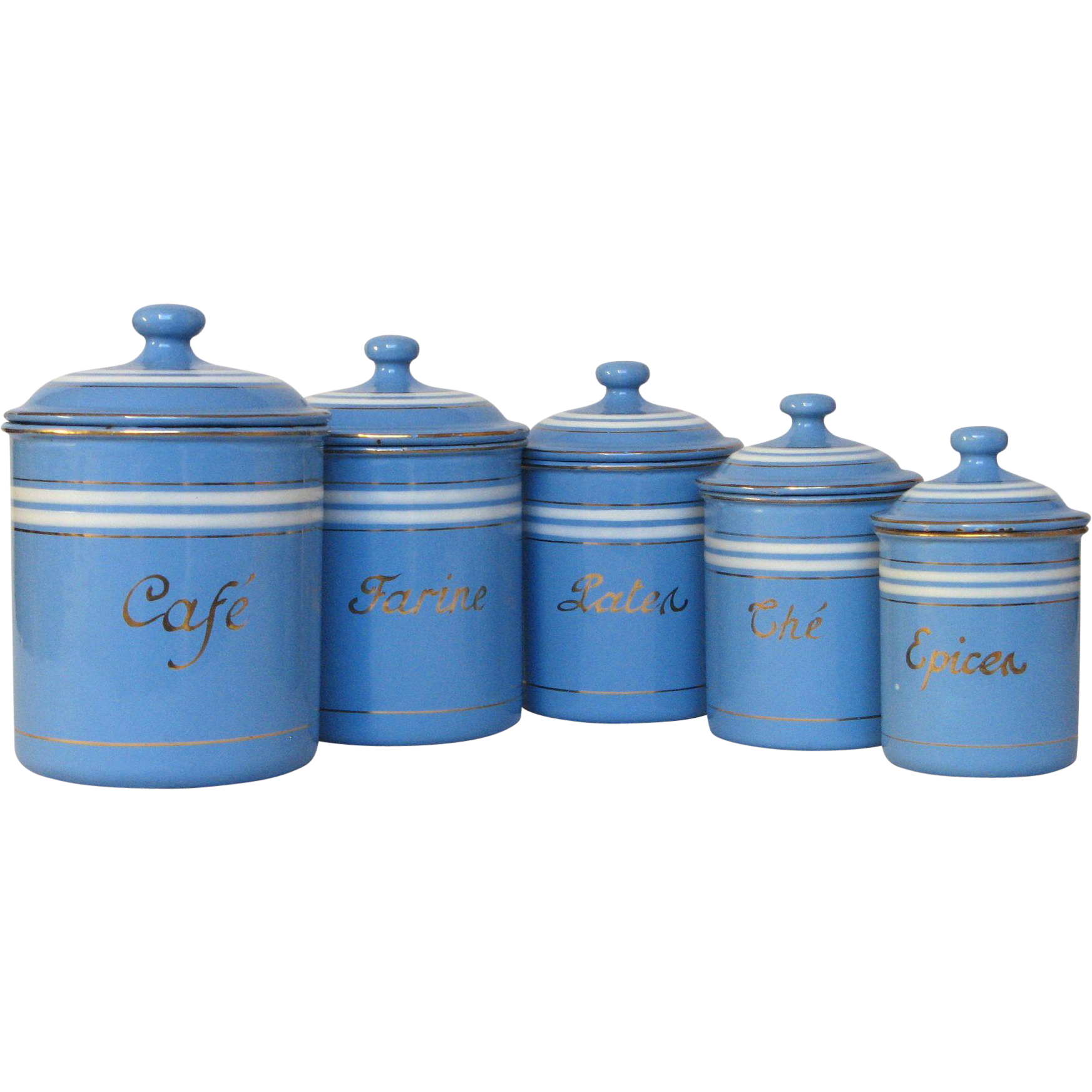 kitchen canisters set of sky blue french enamel graniteware kitchen