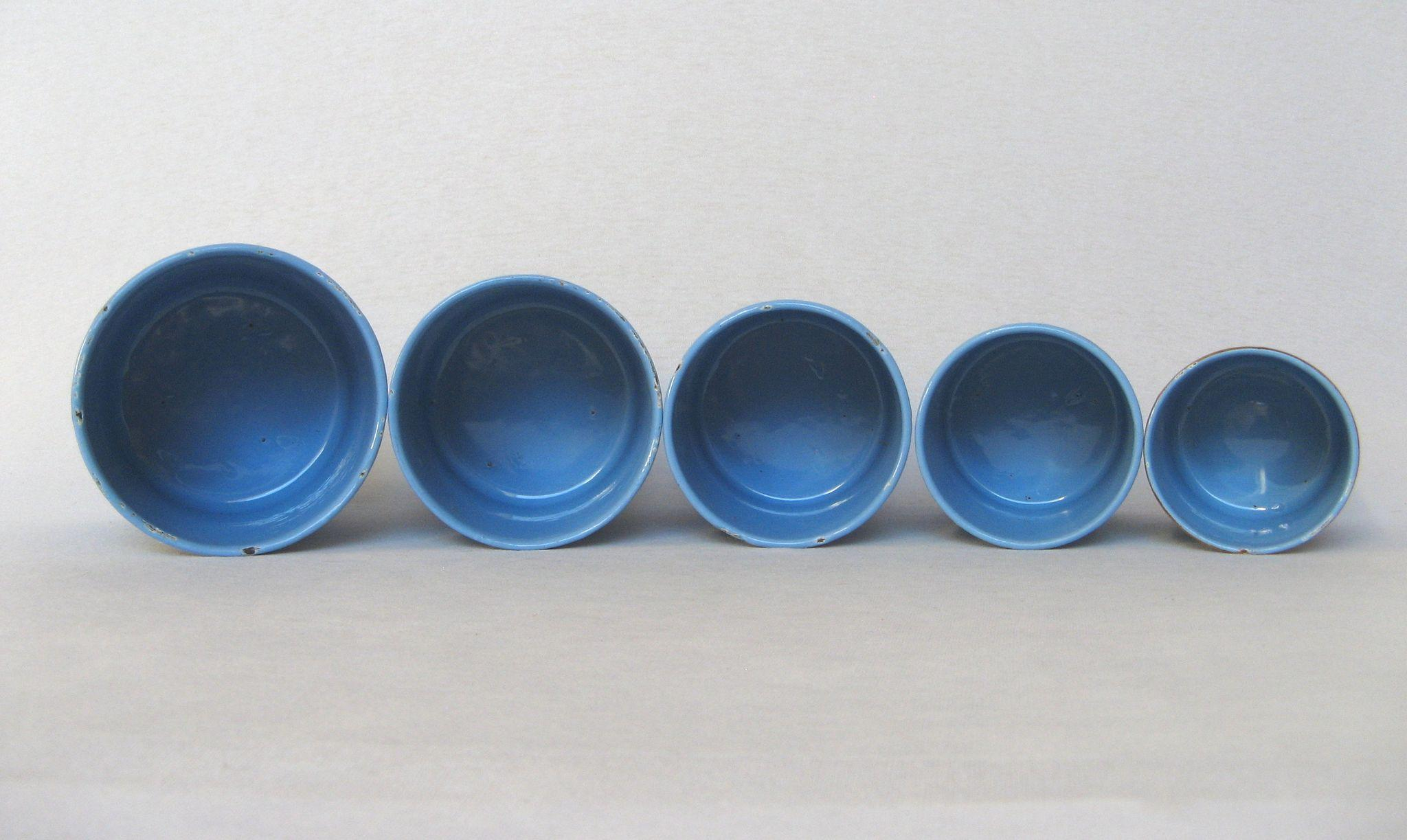 set of sky blue french enamel graniteware kitchen canisters from