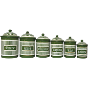COMPLETE Set of French Green Enamel Canisters -early 1900s
