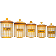 Cheery Set of Five French Enamel Graniteware Canisters