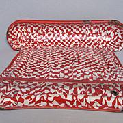 Red & White DROOPY Check Enamel Graniteware Utensil Rack