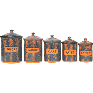 FUNKY Cobalt Blue & Orange Feathery Enamelware Pattern on Five French Canisters