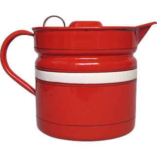 Fire Engine RED - French Enamel Graniteware Milk Warmer / Milk Boiler
