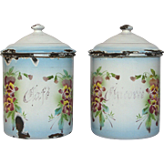 Pair of Japy Enamel Floral Canisters - Chicory and Coffee