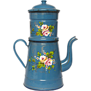 Hand-Painted Floral - XL French Enamel Graniteware Drip Coffee Pot Biggin